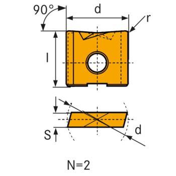 Hartmetall-Wechselschneidplatte WPV 16 mm LC610T