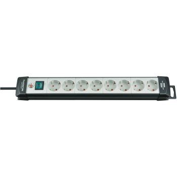 Premium-Line Steckdosenleiste 8-fach schwarz/lichg