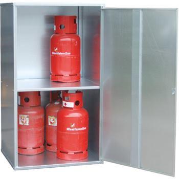 Gasflaschen-Depot für 20 Flaschen Türen gelocht Lx