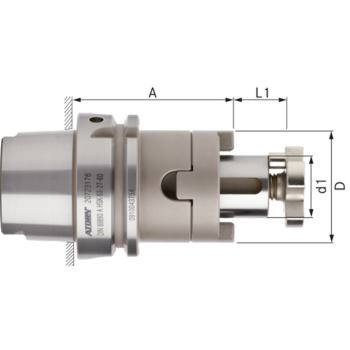 Kombi-Aufsteckfräserdorn kurz HSK 63-A Durchmesser 27 mm DIN 69893-1