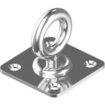 Augplatte mit Wirbel, gestanzt - Edelstahl A2 Typ A 35x 35 mm