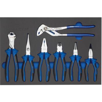 Modul-Hartschaumeinlage Zangen-Satz 7-tlg. 440 x 2 95 x 31 mm schwarz/blau