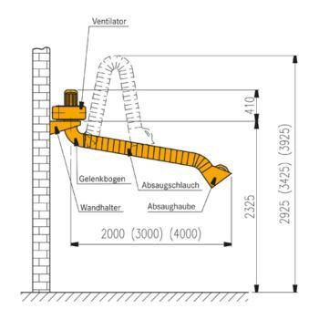 flexibler Absaugarm ohne Ventilator 3 m Absau