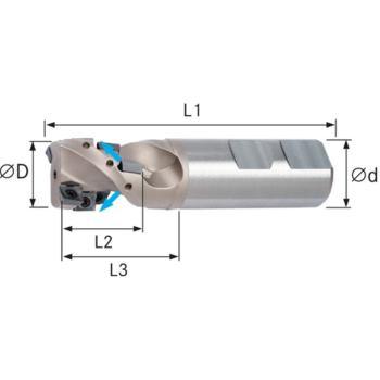 Schaftfräser 90 Grad Innenkühlung 25 mm Z=2, Schaf t DIN 1835B