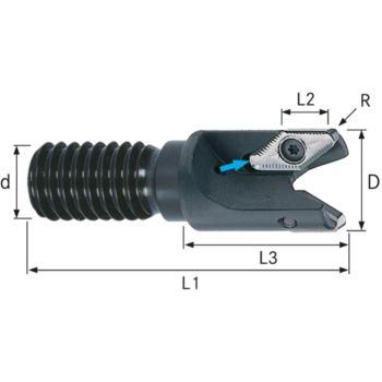 Aufschraubfräser für VPGT1604 25 mm Gewindeschaft M12 Z=2
