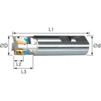 Schaftfräser f.Wendeschneidplatten Z=2 lang 16x150 mm Schaft D=16mmDIN1835B