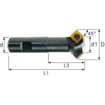 Wendeschneidplatten-Doppelfasenfräser 32 mm Schaft DIN 1835B 45 Grad