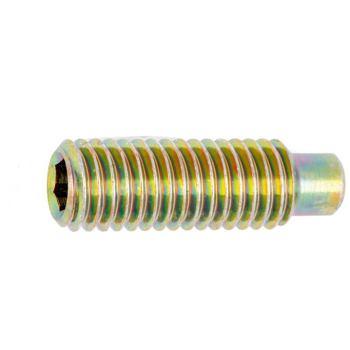 Gewindestift mit Innensechskant und Zapfen ISO 4028 Stahl 45H gelb verzinkt M24 x 35 25 Stück