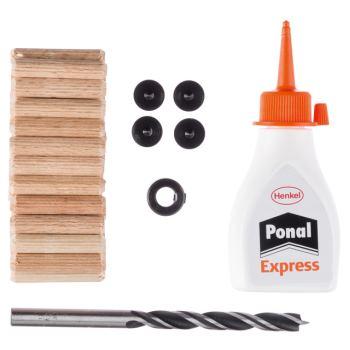 Holzdübel-Set, 32-teilig, 6 mm, 30 mm