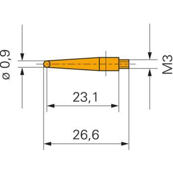 Messeinsatz mit Stahlkugel 0,9 mm Gewinde M3