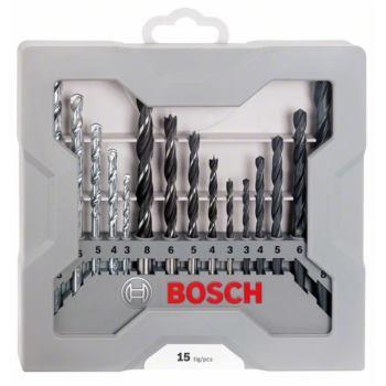 Bohrer-Set, gemischt, 15-teilig, 3-8 mm, 3-8 mm, 3