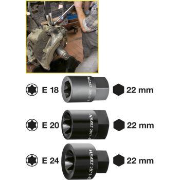Bremssattel TORX® Einsatz 2871-E24 · E 24 · Außen-Sechskant 22 mm · Außen TORX® Profil · l: 39.5 mm
