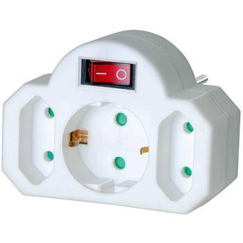 Adapterstecker Euro 2 + Schutzkontakt 1 mit Schalter