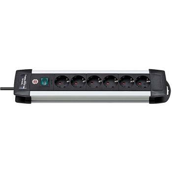 Premium-Alu-Line Steckdosenleiste 6-fach 3m H05VV-F 3G1,5
