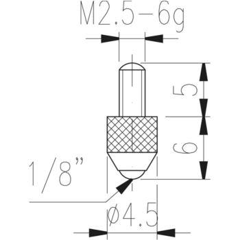 Messeinsatz Typ 9 Stahlkugel Durchmesser 3 mm L =