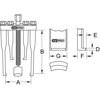 Universal-Lenkrad-Abzieher 2-armig für PKW, 90mm 6