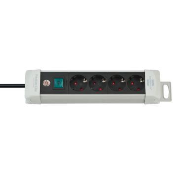 Premium-Line Steckdosenleiste 4-fach lichtgrau/sch