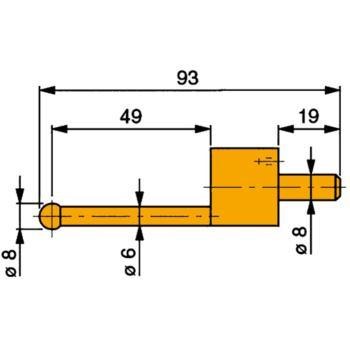 Messeinsatz mit Hartmetall-Kugel 8 mm Durchme
