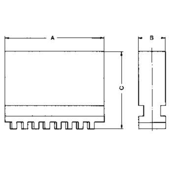 Blockbacke BL, Größe 500/630, 3-Backensatz, DIN 6350 ungestuft, ungehärtet
