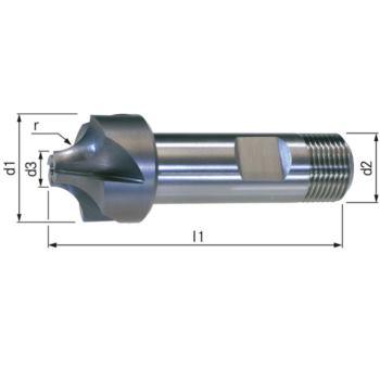 Viertelkreisfräser HSSE5 Radius 2,5 mm Schaft DIN