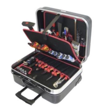 Hartschalen-Trolley 13-HT, komplett, mit Elektro-S ervice-Werkzeugpaket 13, 45-teilig
