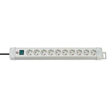 Premium-Line Steckdosenleiste 10-fach lichtgrau 3m
