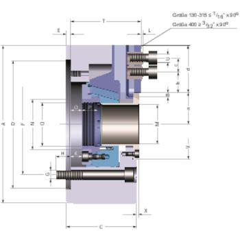 Kraftspannfutter KFD-HE 315, 3-Backen, Spitzverzahnung90°, Zylindrische Zentrieraufnahme