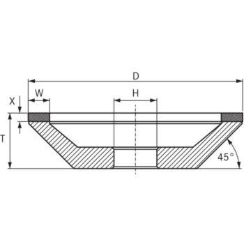 CBN-Topfscheibe, Typ 12A2, Durchmesser 100 m
