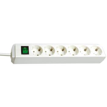 Eco-Line Steckdosenleiste mit Schalter 6-fach weiß