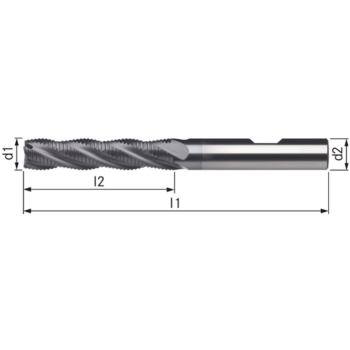 Schaftfräser HSSE8-TICN 14 mm HR L Schaft DIN 183