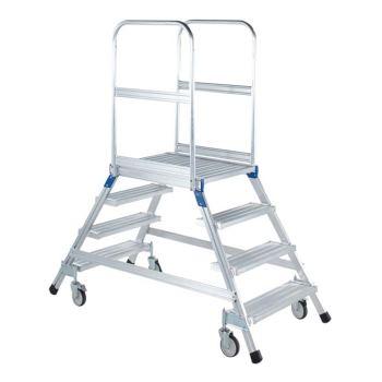 Podesttreppe fahrbar Z 600 beidseitig begehbar mit Leichtmetall-Stufen | 41981