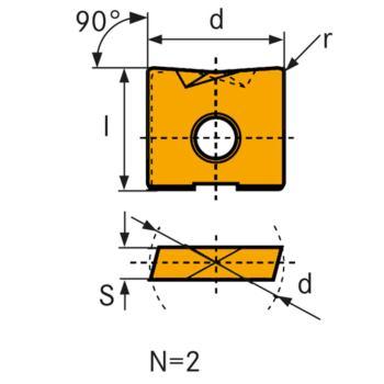 Hartmetall-Wechselschneidplatte WPV 08 mm LC610T