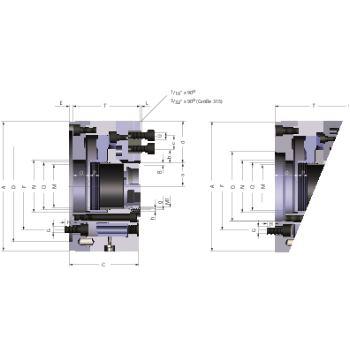 Kraftspannfutter KFD-HS 160, 2-Backen, Spitzverzahnung 90°, Zylindrische Zentrieraufnahme