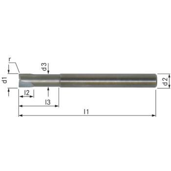 PKD-Torusfräser Z=2 6x100 mm R=1,0 mm L3=18