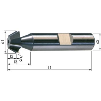 Winkelfräser HSSE5 DIN 1833D H 45 Grad 16 mm Scha