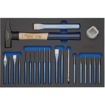 Modul-Hartschaumeinlage Hammer, Meißel, 22-tlg. 44 0x295x31mm schwarz/blau