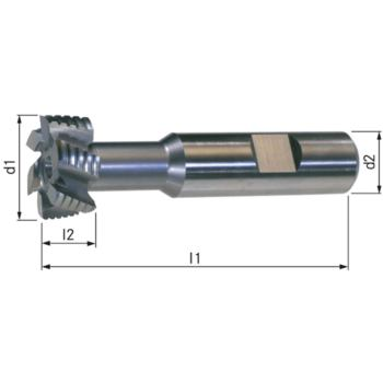 T-Nutenfräser HSSE5 DIN 851 NF Größe 12-22x10 mm