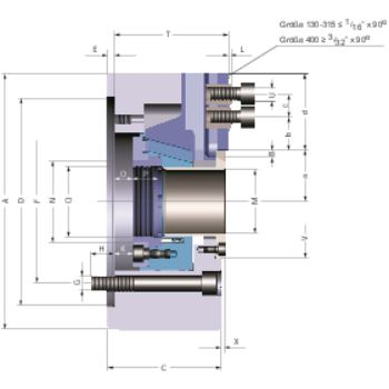Kraftspannfutter KFD-HE 170, 3-Backen, Spitzverzahnung90°, Zylindrische Zentrieraufnahme