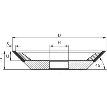 CBN-Topfscheibe, Typ 12V9, Durchmesser 100 m