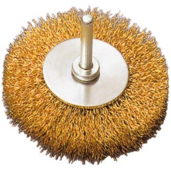 Rundbürste Durchmesser 70 mm, Schaft 6 mm Gewellte r Messingdraht 0,30 mm