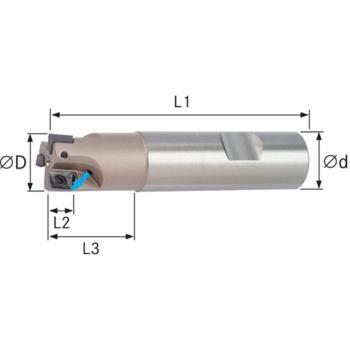 Schaftfräser f.Wendeschneidplatten IK Z=1 10x80mm Schaft D=16mm DIN 1835B