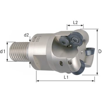 Aufschraubkopierfräser Durchmesser 10 mm, Z2, Gewi ndeschaft M 6