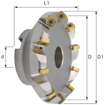 Planfräser 45 Grad mit Innenkühlung Durchmesser 16 0 mm Z=12