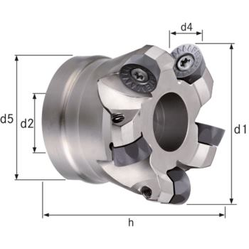 Planfräser/Kopierfräser Z=7 Durchmesser 100 mm, d2 = 32 mm, Z=7