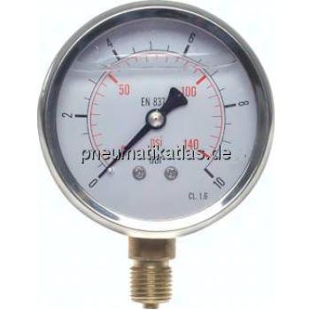 Glycerin-Manometer senkrecht ( CrNi/Ms), 63mm, 0 -60 bar