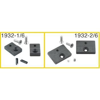 Ersatzteil-Satz: 1 Paar Prägebacken, 15 mm breit,2 Schrauben, 2 Spannhülsen