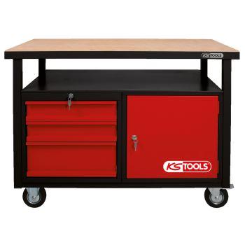 Fahrbare Werkbank mit 3 Schubladen und 1 Tür