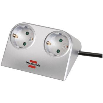 Desktop-Power 2-fach silber 1,8m H05VV-F 3G1,5