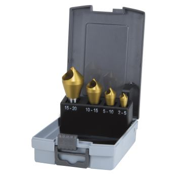 Querlochsenker Sets ,Set slotted taper HSS TiN 4 p
