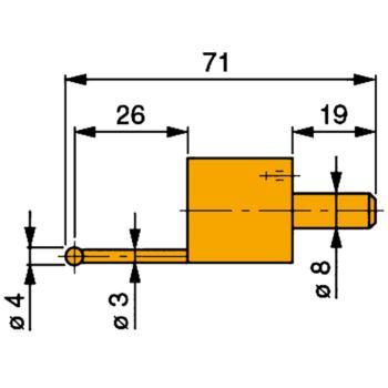 Messeinsatz mit Hartmetall-Kugel 4 mm Durchme
